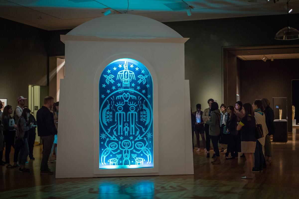 """Ḱanḱagawí"" (The Seam of Heaven), 2018, Marianne Nicolson, Dzawada'enuxw First Nation, b. 1969, site-specific installation, Seattle Art Museum. Photo by Natali Wiseman"