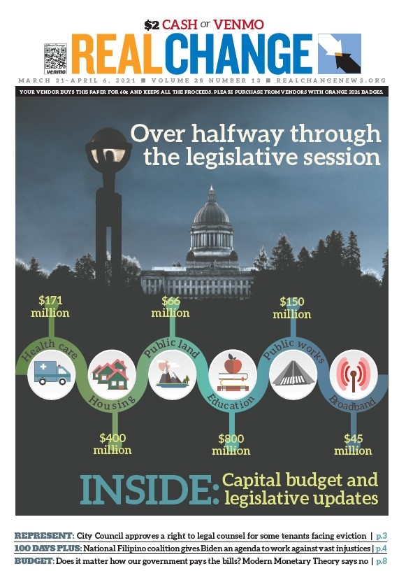 Photojournalist George P. Hickey took this photo of the Washington Capitol in January. The data sums up the governor's proposed budget. Find more about the budget on page 5 and anti-poverty legislation on page 6.