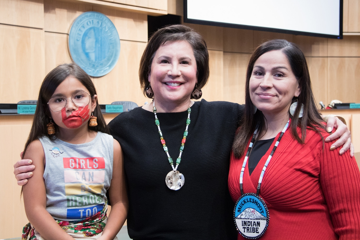 Councilmember Debora Juarez (center) is an enrolled Blackfeet tribal member and champion of the resolution aimed at stopping an epidemic of violence against Native women and girls. Photo courtesy City of Seattle Council  Flickr