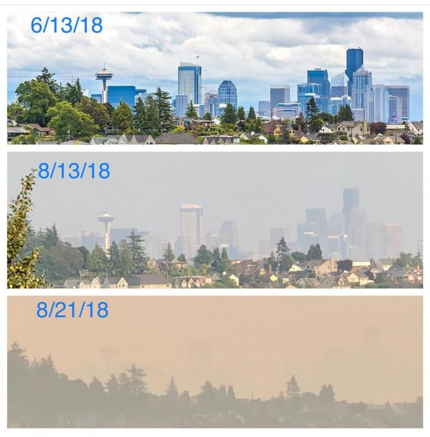 The view from a Magnolia home showing the deteriorating air quality in Seattle from wildfire smoke moving into the area. Photo courtesy Shannon (IG @SMS0918)