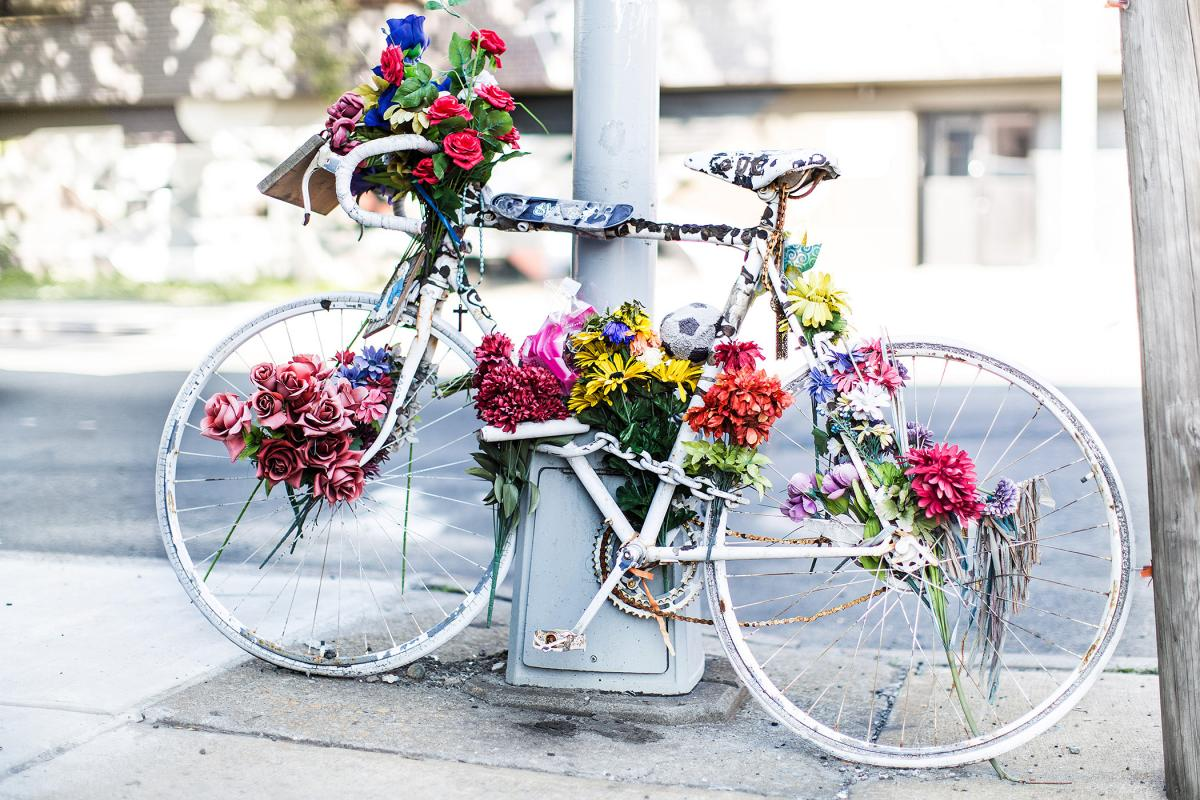 A memorial ghost bike for artist Mathieu Lefevre, who was killed in 2011 while cycling to his home in the East Williamsburg neighborhood of Brooklyn, New York. Photo by Henry Hargreaves