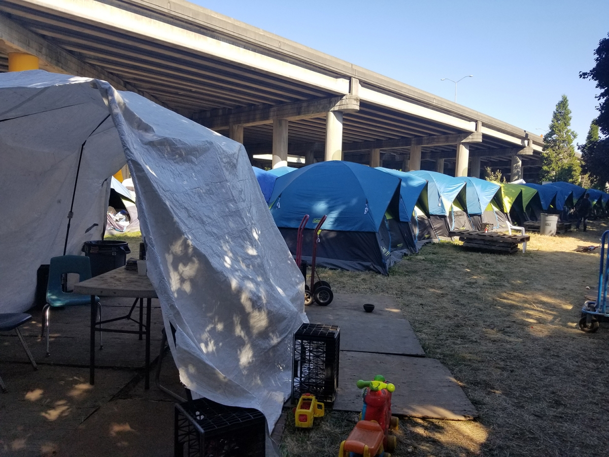 SHARE, which funds Tent City 3 currently located under I-5, may lose federal dollars. Photo by Ashley Archibald