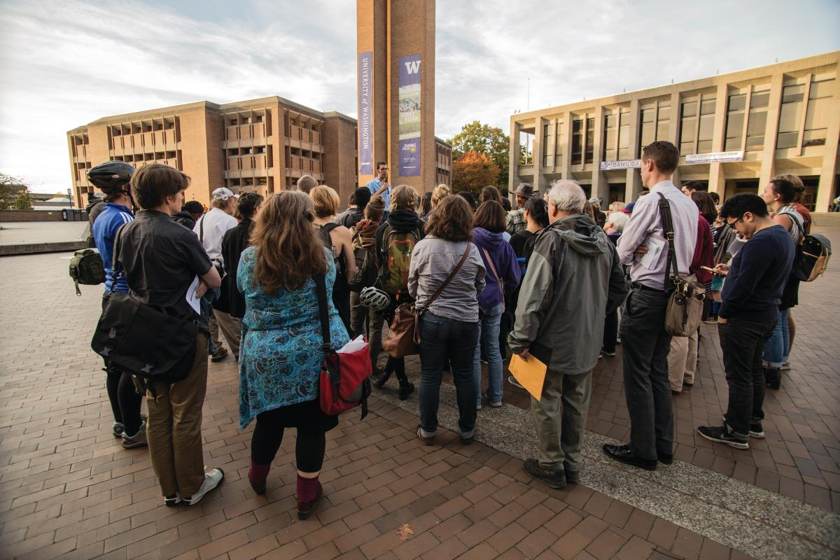Students and homeless advocates tour the UW campus in October 2015 before the site was chosen.
