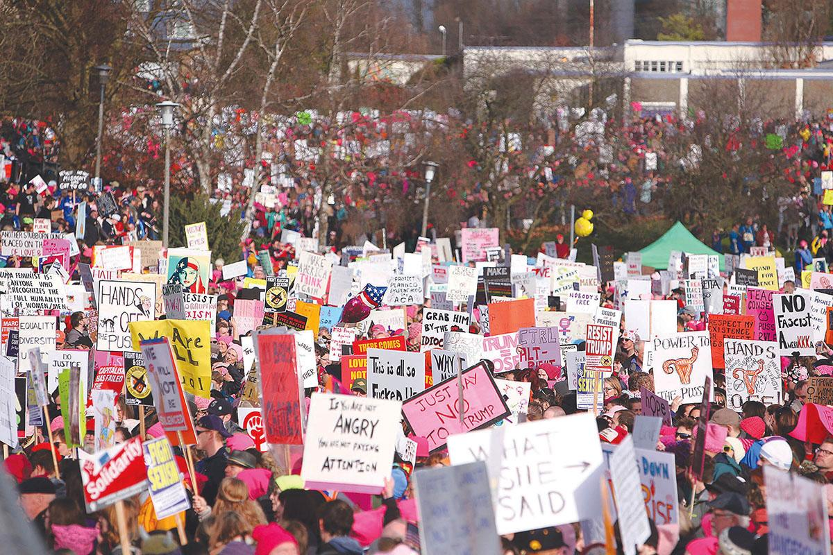 Thousands marched across Seattle during the 2017 Womxn's march. File photo by Joseph Romain
