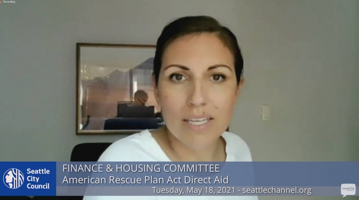 Teresa Mosqueda hosts a Finance and Housing Committee meeting Tuesday, May 18. The meeting discussed spending plans for federal funds through the American Rescue Plan Act. Screenshot by Samira George