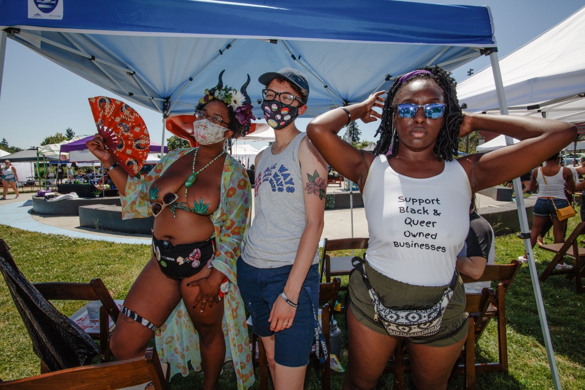 """Lilith O'Hare, left, says they """"just feel free"""" at Taking B(l)ack Pride. Photos by Matthew Browning"""