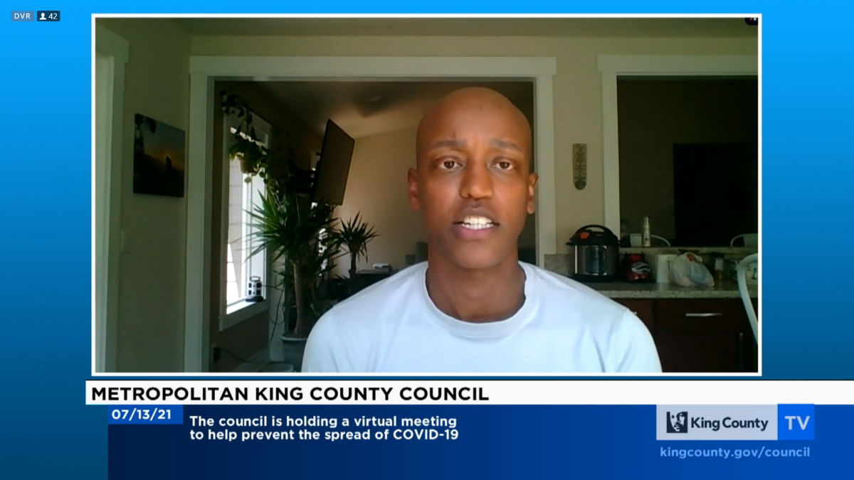 """During the July 13 virtual King County Council meeting, Councilmember Girmay Zahilay spoke on the decision to table the ordinance he and Councilmember Jeanne Kohl-Welles proposed to allow ranked-choice voting for county positions. """"Most of our colleagues"""