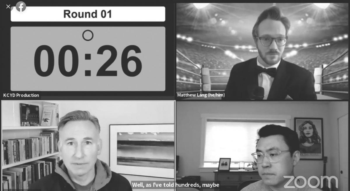 King County Executive Dow Constantine and state Sen. Joe Nguyen, bottom left and right, debate the issues that surround the office they are campaigning for in a Zoom boxing-ring forum held by the King County Young Democrats, May 22. Screenshot courtesy Er