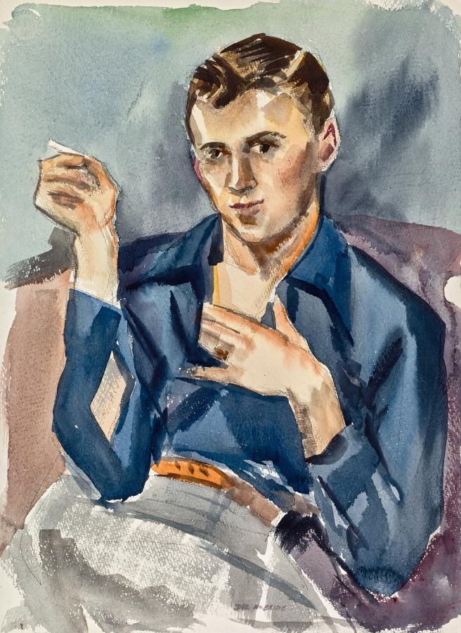 Untitled portrait by Delbert J. McBride in watercolor and goache, circa 1950.