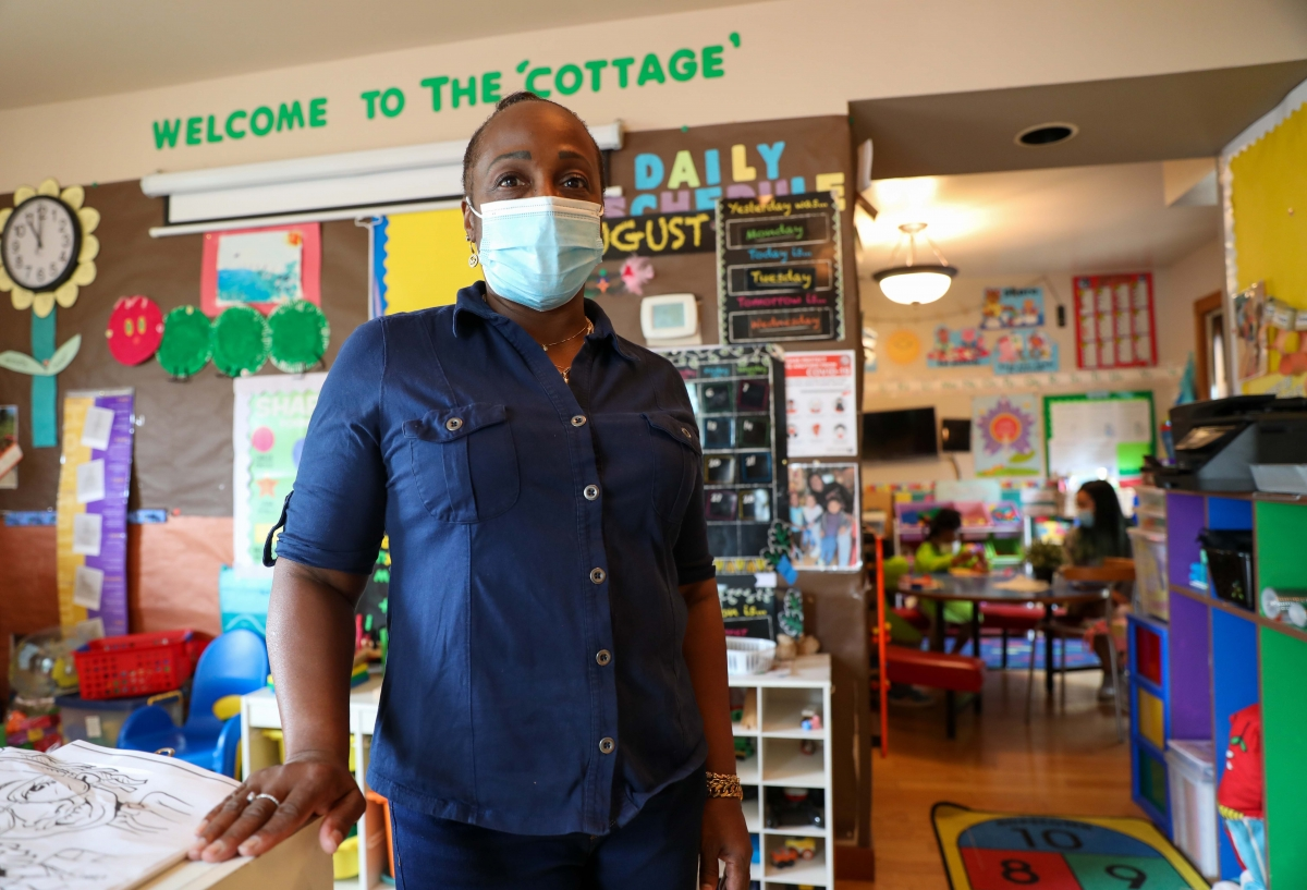 Nina Mitchell-Anderson opened her in-home preschool, the Life Academy Childcare Center, in Seattle's Central District in 2016. She feels undervalued by the state and that COVID-19 grants are directed primarily toward large child care centers rather than h