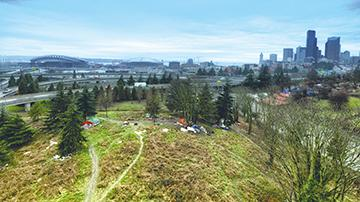 A view from above of Nickelsville, located at 1010 S. Dearborn in Seattle.