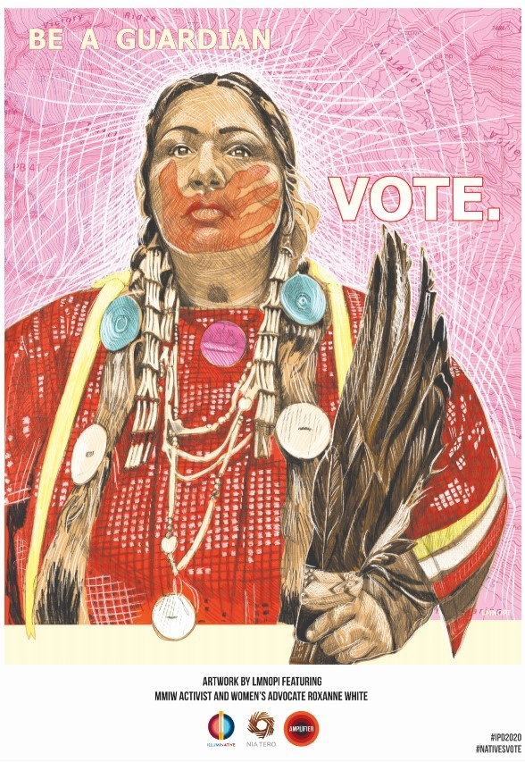 Illustration by LMNOPI of Roxanne White, who is an activist with the Missing and Murdered Indigenous Women organization