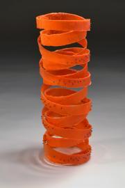 """Rei Chikaoka's """"Updraft,"""" kilncast glass, metal, 2015"""