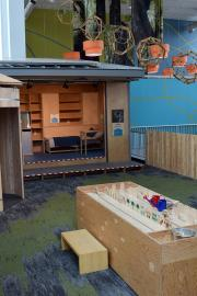 """""""Block by BLOCK."""" installation view. A BLOCK home is 125 sqare feet, off grid and self sufficient. Photo courtesy of the Pacific Science Center"""