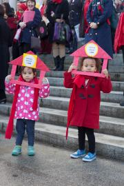 Rylie Want, 2, and Lorraine Knuston, 3, chanted on the steps of the Washington State Capitol with hundreds of others on Feb. 2.