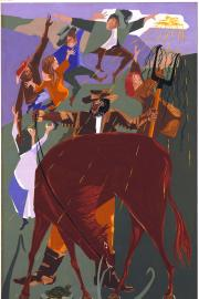 Jacob Lawrence, No. 1. On a fair May morning in 1844, George Washington Bush left Clark County, Missouri, in six Conestoga wagons, 1973, casein tempera and gouache, 31½ × 19½ inches, series piece. Collection of Washington State Historical Society. Image u