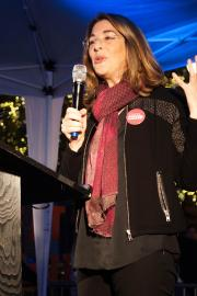 """Naomi Klein speaks in Seattle in Oct. 2015. Her new book, """"No Is Not Enough"""" critiques strategies for resisting President Donald Trump and offers new solutions. Photo by Martha Tesema."""