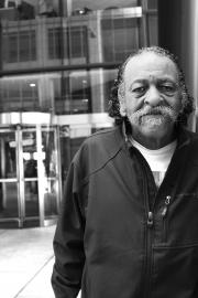 Charles Pannell, 71, is a janitor who cleans the Wells Fargo Building on Third and Marion. Unionized janitors are in negotiations with janitorial companies over a new contract.