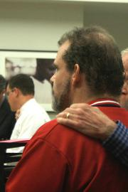 Michael Hayes and retired physician William Watts visit King County's drug court in 2015 hoping to get Hayes into the recovery program. Photo by Kelsey Hamlin