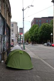 Tents line a section of Main Street in Pioneer Square. Unauthorized encampments are often swept which reinforces the instability they are already facing.
