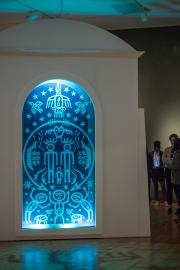 """Ḱanḱagawí"" (The Seam of Heaven), 2018, Marianne Nicolson, Dzawada'enuxw First Nation, b. 1969, site-specific installation, Seattle Art Museum. Photo by Natali Wiseman"