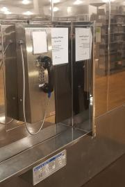 Anyone is free to use the free phones at the downtown branch of Seattle Public Library. Photo by Ashley Archibald