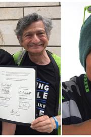 Left, vendors Lisa Sawyer and Shelly Cohen hold the proclamation from Seattle City Council. Right, Sharon Jones.