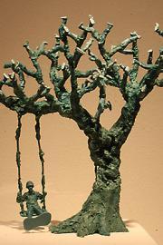 """Tree Swing,"" 2014, by Noa Batle, plastic toy soldier. Photo by Jon Williams"