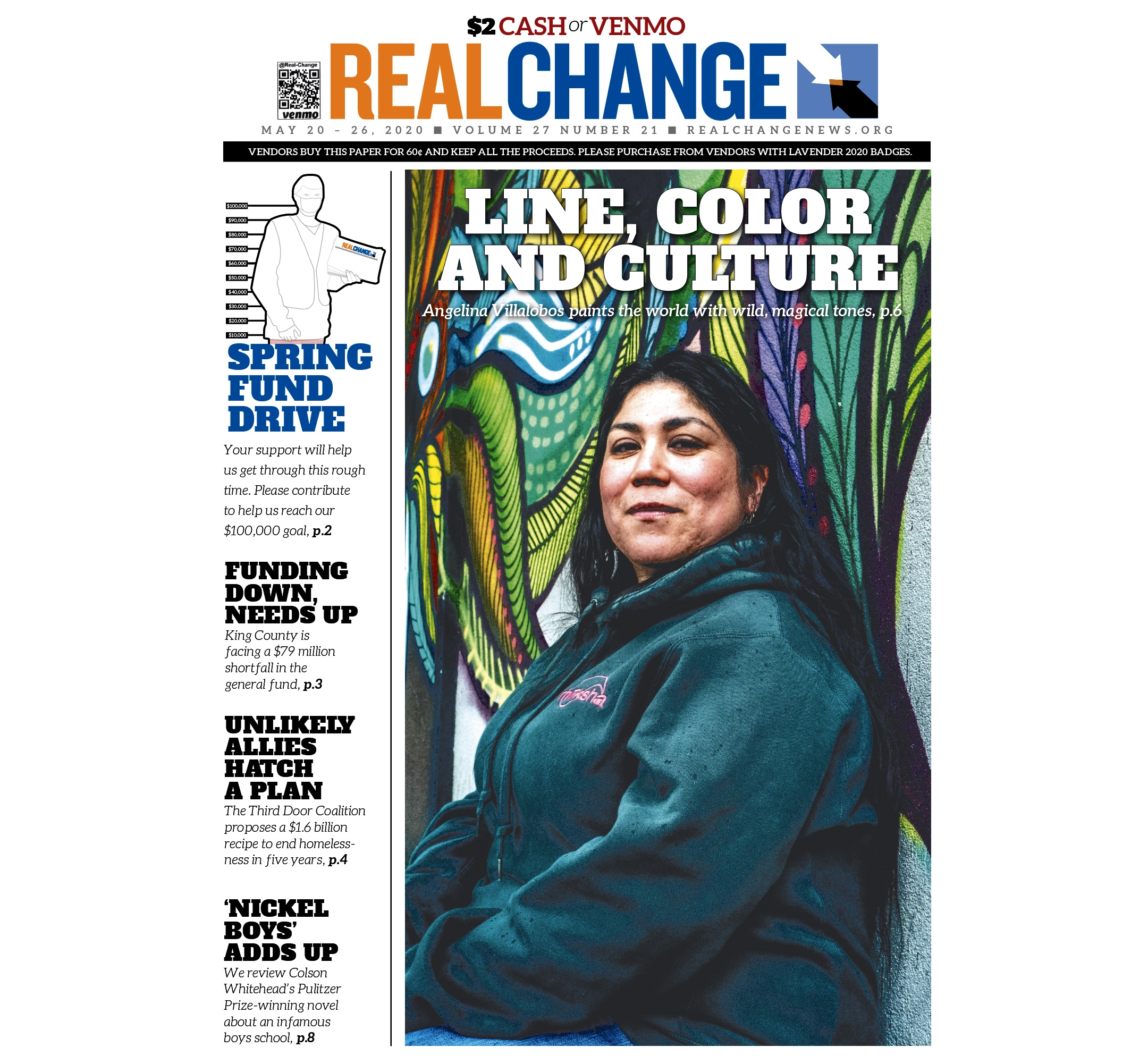 Seattle artist Angelina Villalobos draws upon line, color and her heritage to create murals for commission and by donation all around the city. Story on page 6. Photography by Mark White.