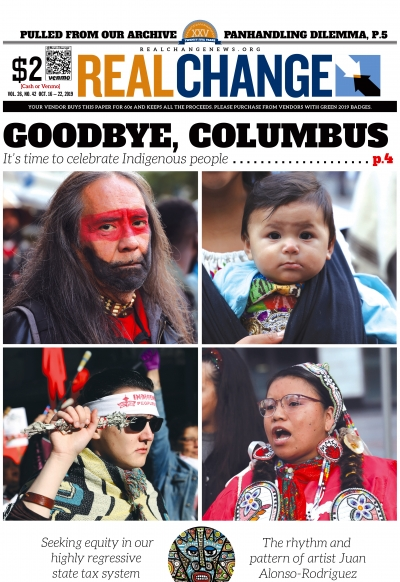 Clockwise from top left, Dennis Willard dons traditional paint before the Indigenous Peoples' Day March. Nine-month-old Yatzil Rodgriguez is strapped to his mother Claudia Flores. Loni Long of Indigenous Sisters sings in Westlake Park in the morning befor