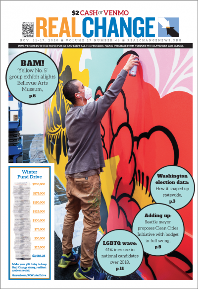 """Kenji Hamai Stoll painted """"White Ashes 11"""" at the Bellevue Arts Museum. The artist has created """"White Ashes"""" murals all around the Pacific Northwest; one is as big as 6,150 square feet. On page 6, find out about the entire BAM group show."""