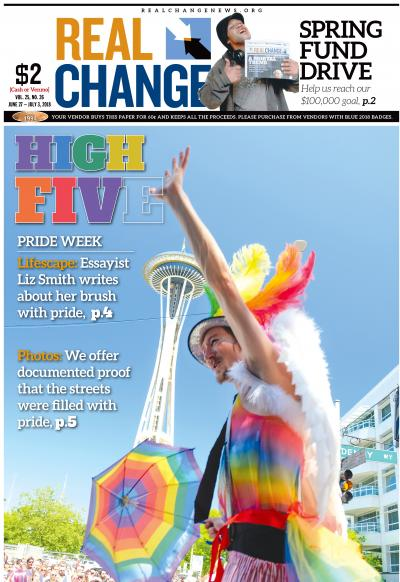"Eli March is caught in mid march by photographer Alex Bergstrom. March told Berstrom, ""I was really happy to be a part of the Pride Parade! It was so fun and colorful! Also, love is love! So let's celebrate that, ya know?"""