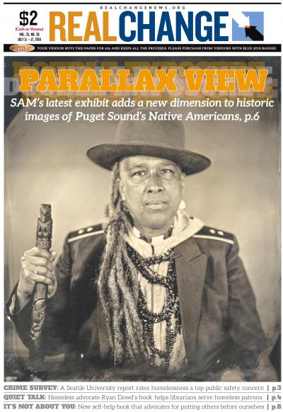 """Seattle Art Museum's """"Double Exposure"""" exhibition print of """"Talking Tintype, Storme Webber"""" by Will Wilson. It's from the Critical Indigenous Photographic Exchange: d=id=∂lalivc. Webber is an artist/poet and Sugpiaq/Black/Choctaw. Wilson is Diné."""