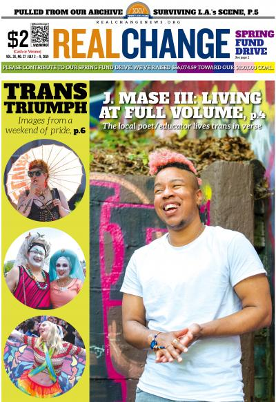 Poet and educator J. Mase III talks about his life in verse. Mase was one of the headliners at the Trans Pride Parade. Photo by Jeff Few. Images from Trans Pride Seattle by Susan Fried and Lisa Hagen Glynn.