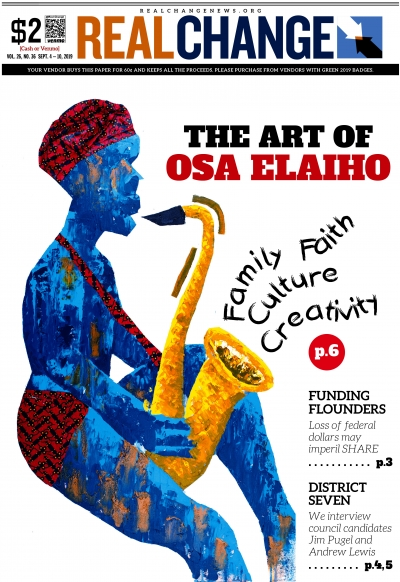 """David on the Sax,"" mixed media on canvas, 2019, by Osa Elaiho is one of several paintings on display at Columbia City Gallery."