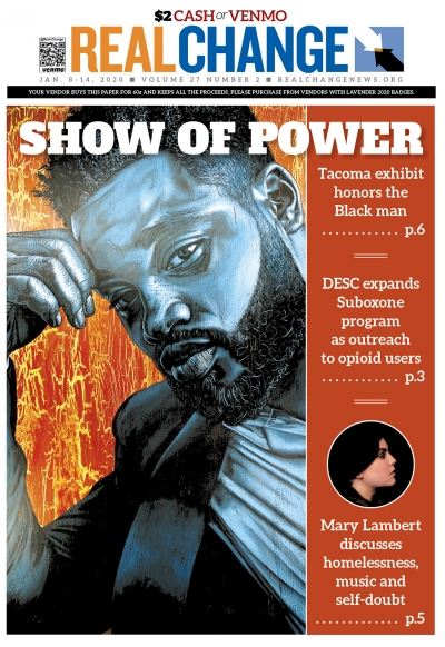 """""""Home Team,"""" original artwork of Hollywood director Ryan Coogler by Alfred Conteh, is part of the Smithsonian traveling show in Tacoma """"Men of Change: Power. Triumph. Truth."""" Read the story beginning on page 6."""