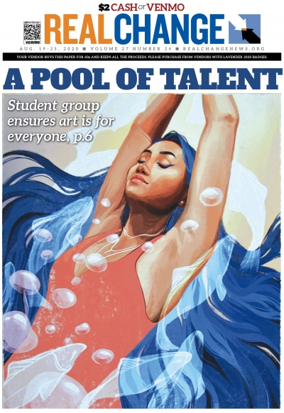 """Student Art Spaces (SAS) was founded by two local student artists with a mission to """"amplify student voices in art through gallery exhibitions."""" The cover is by Elissa Martial, titled """"Upstream,"""" digital, Coming Home, 2020. See the story on page 6."""