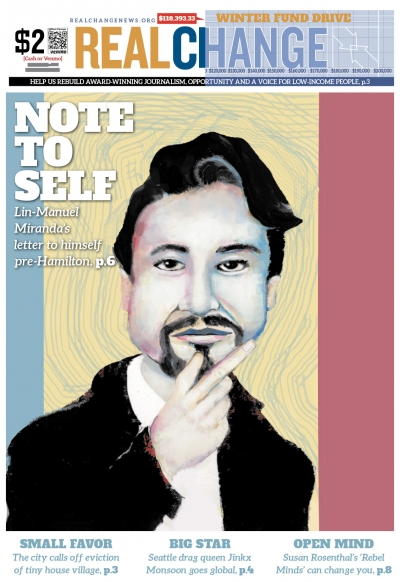 "Our ""Letter to My Younger Self"" series kicks off with an introductory letter by Lin-Manuel Miranda. His letter to his younger self begins on page 6. Readers interested in contributing, see page 7. Illustration by Jon Williams."