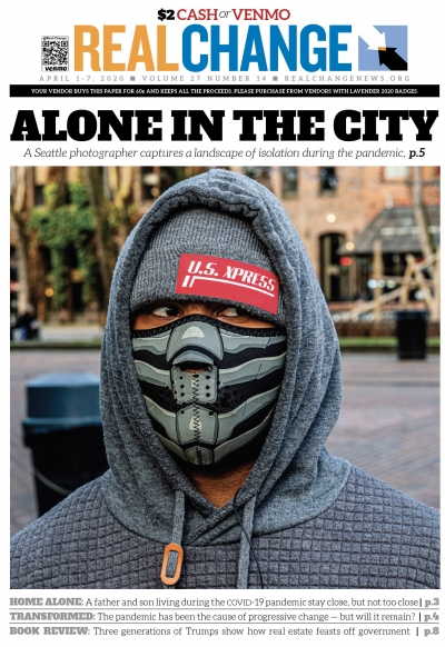 Smurf, who is visiting from Detroit, said he had just spent $15 on his mask. Smurf and others were the subjects of street photographer Mark White's late-March photo essay, which begins on page 5.