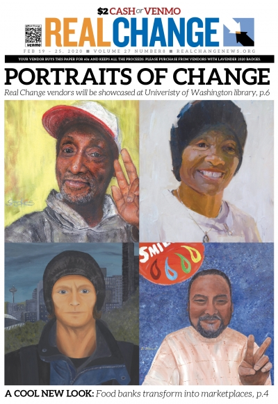The Real Change portrait project opens at the University of Washington Allen Library Feb. 20. The project features portraits of our vendors by several local artists. The portraits are, clockwise from upper left, David Purnell, Sharon Jones, Michael Wiggin