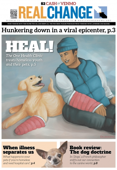 The One Health Clinic services the health care needs of Seattle's homeless teens. At the same time, the clinic offers veterinary service for the teen's pets. Story on page 5. Cover illustration by Emily Drummond