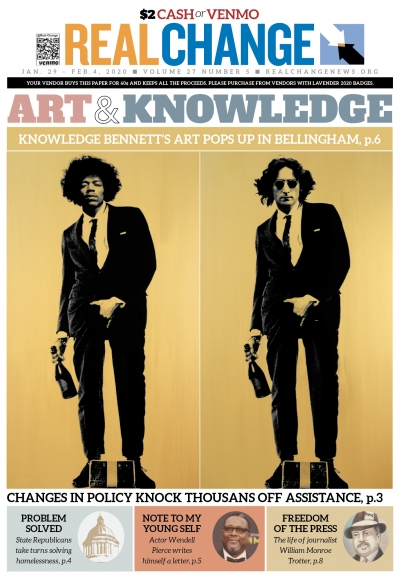 "Jimi Hendrix and John Lennon are two of the pop culture icons depicted in artist Knowledge Bennett's Cojones series. Bennett's ""Road to Damascus"" is at West Washington University through May 2. Story on page 6."