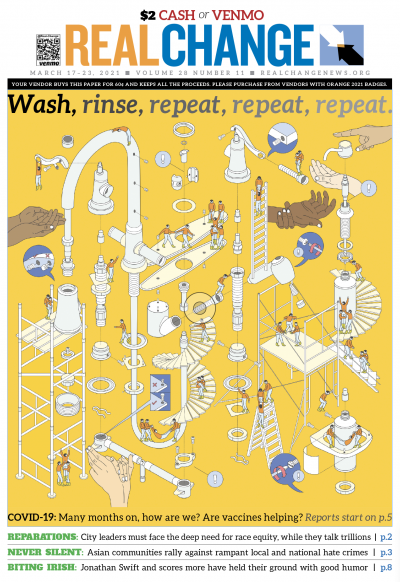 """The popular tech today: not just your mother's soap and water but a near-constant running faucet, 20-second tune and magic cleaner. Image by Aashti Miller for """"United Nations Global Call Out To Creatives - help stop the spread of covid-19."""" Find new repor"""