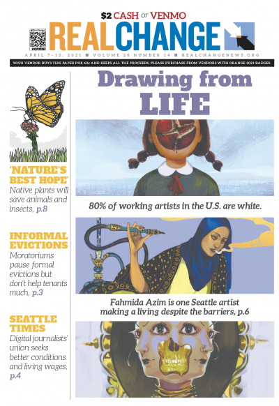 Fahmida Azim is a vastly accomplished author and illustrator living in Seattle. Three of her works are featured, which you can find with parts of her story, including inequities for non-white artists, on page 6.