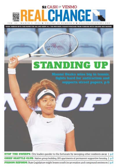 Naomi Osaka takes the win in a quarter-final match of the Yarra Valley Classic in Melbourne, Australia, Feb. 5, 2021. The International Network of Street Papers interviews Osaka, who won the Australian Open Feb. 20, on page 6. Photo by Loren Elliott for R