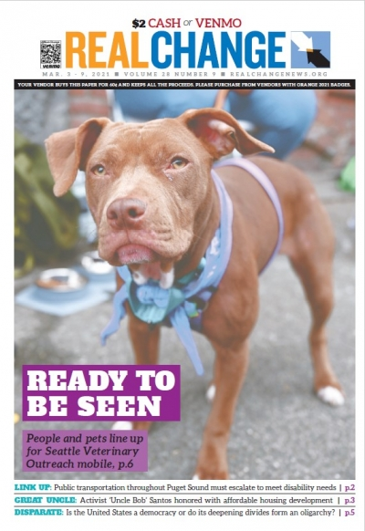 Real Change Communications and Development Associate Ace Azul has reported about Seattle Veterinary Outreach for months, culminating in this photo of July 1 and many more on pages 6 and 7; Hanna Fisher of the University of Washington News Lab tells the st