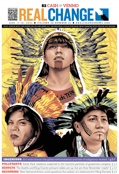 """This triptych of Brazilian activists, from top to bottom right, Célia Xakriabá, Sônia Guajajara and Nara Baré is part of a series designed by Tracie Ching with Amplifier and Nia Tero called """"Thriving Peoples, Thriving Places"""" that honors Indigenous women."""