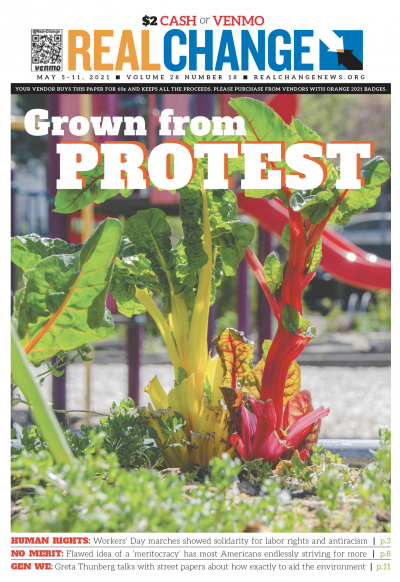 The Ujamaa Food Circle was born of Black communities' co-op customs and of the Capitol Hill Occupied Protest. Christy Carley took the cover photo and reports the story on page 5.