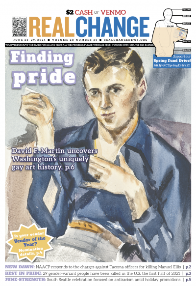 """The Pacific Northwest has long been a queer haven; Olmpia-born Delbert J. McBride (1920–1998) lived in Washington as a known historian, painted this untitled watercolor portrait. An interview with local art historian David F. Martin about his book """"The La"""