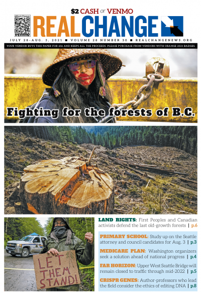 Photos by Mike Graeme, top to bottom: Indigenous land defender Rainbow Eyes at Caycuse with their neck chained to a gate welded in place by forest protectors; an old-growth cedar stump in the tree farm at Caycuse; a protester who was handed the injunction